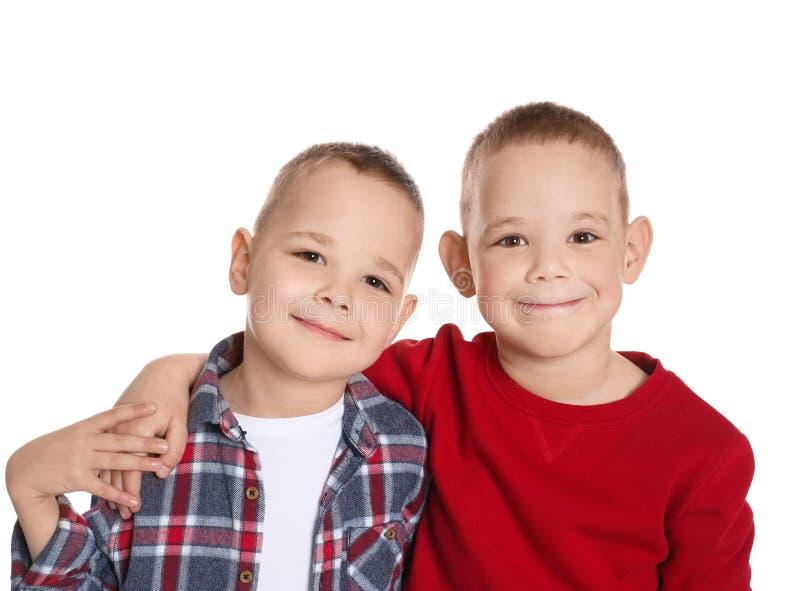 Ritratto dei fratelli gemelli svegli immagini stock libere da diritti