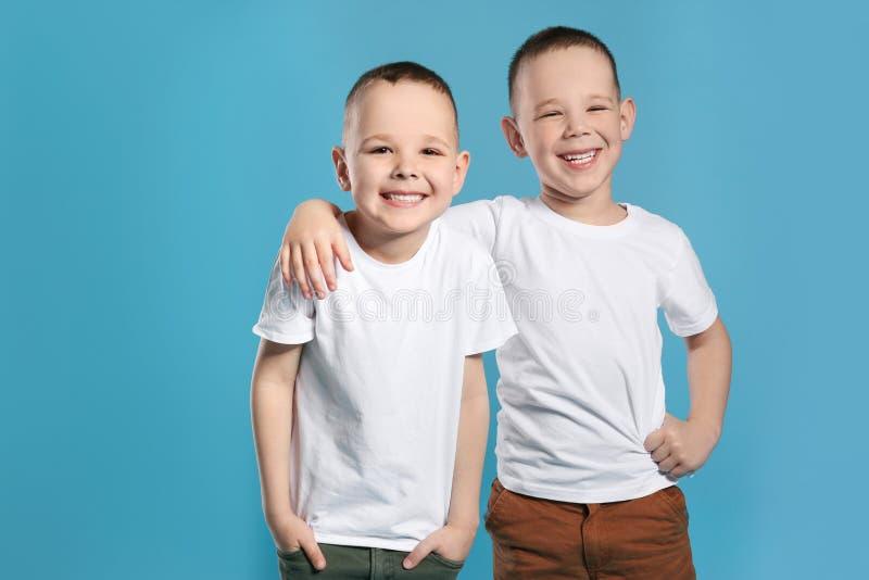 Ritratto dei fratelli gemelli svegli immagine stock