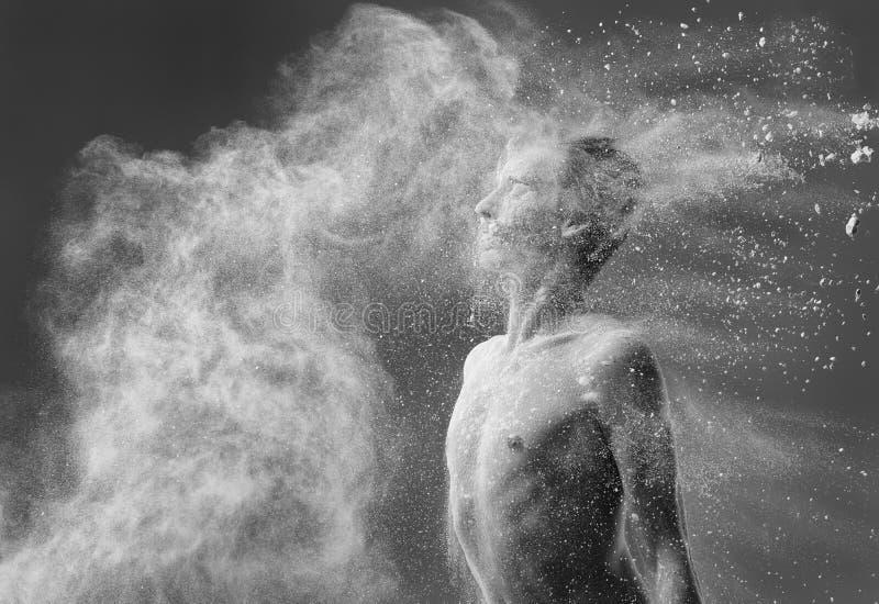 Ritratto del ballerino di balletto di monocromio della farina immagini stock libere da diritti