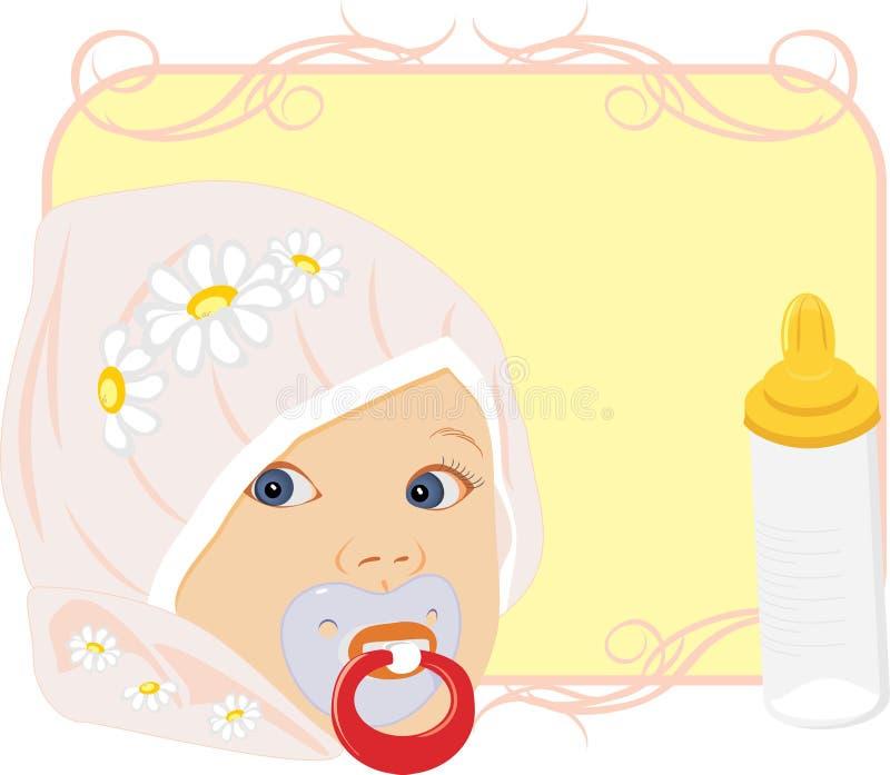 Ritratto del bambino con la bottiglia per latte. Scheda illustrazione di stock