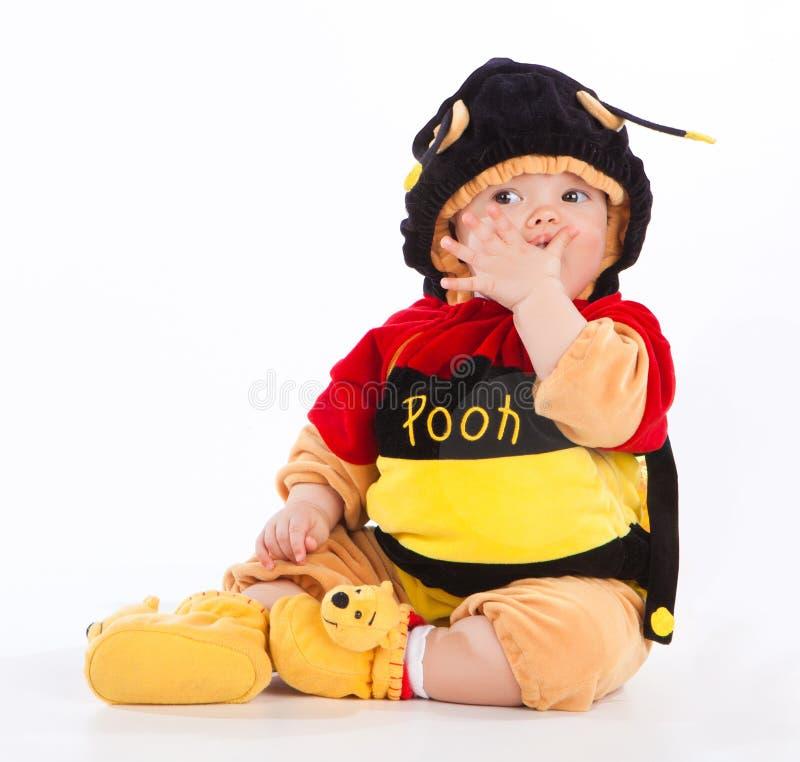 Ritratto del bambino vestito come ape ed isolato sopra immagini stock