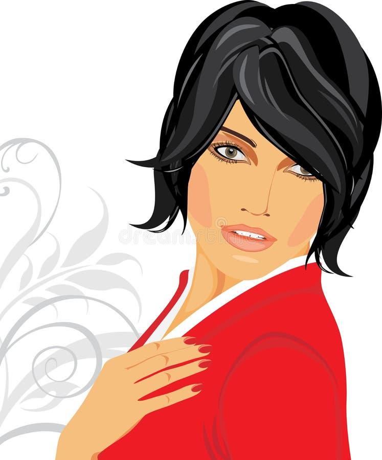 Ritratto del brunette in una camicetta rossa illustrazione di stock