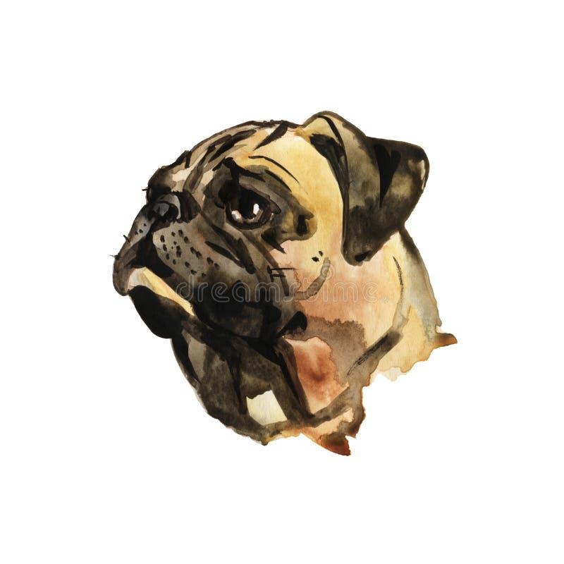 Ritratto del carlino del cane dell'acquerello - illustrazione dipinta a mano degli animali domestici illustrazione vettoriale