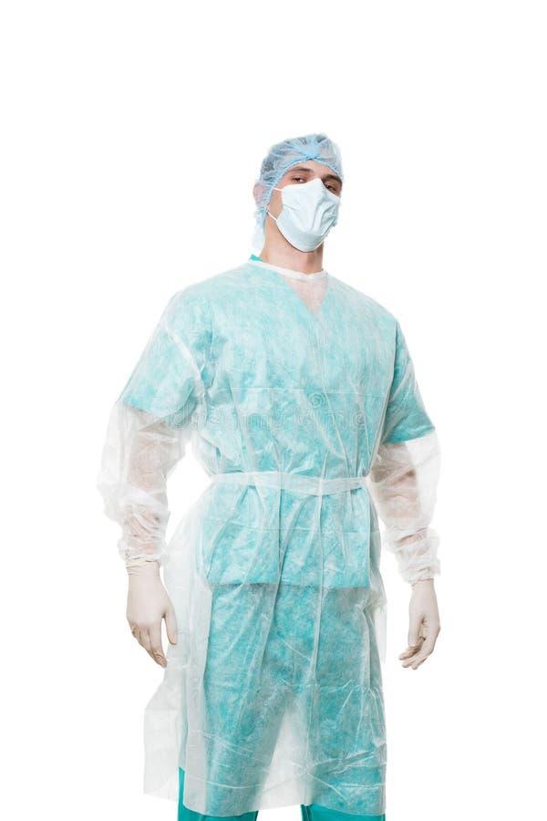 Ritratto del chirurgo Isolato su priorità bassa bianca fotografia stock libera da diritti