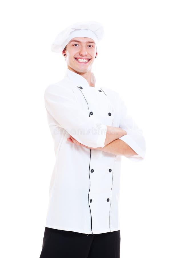 Ritratto del cuoco felice dei giovani fotografia stock