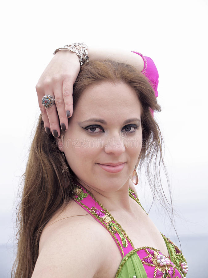 Ritratto del danzatore arabo, primo piano fotografia stock libera da diritti