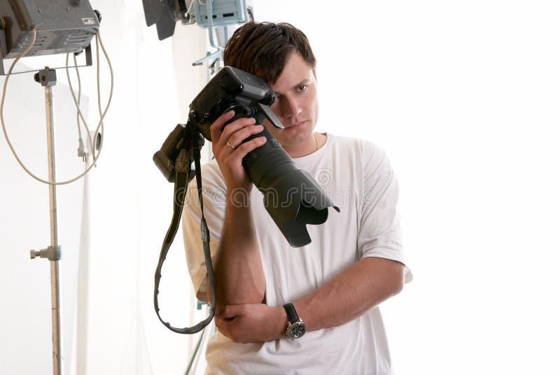 Ritratto del fotografo faticoso fotografie stock