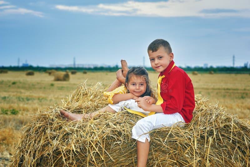 Ritratto del fratello e della sorella nella mangiatoia immagini stock