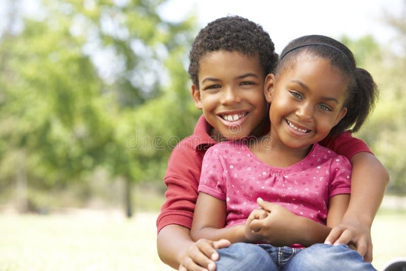 Ritratto del fratello e della sorella in sosta immagini stock libere da diritti