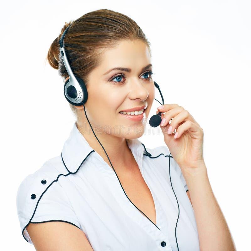 Ritratto del fronte dell'operatore di call center della donna sulla linea supporto wo fotografia stock libera da diritti