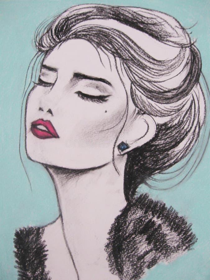 Ritratto del fronte della donna Acquerello astratto illustrazione vettoriale