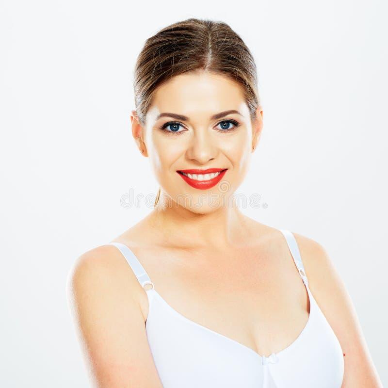 Ritratto del fronte della donna che sorride con i denti fotografie stock libere da diritti