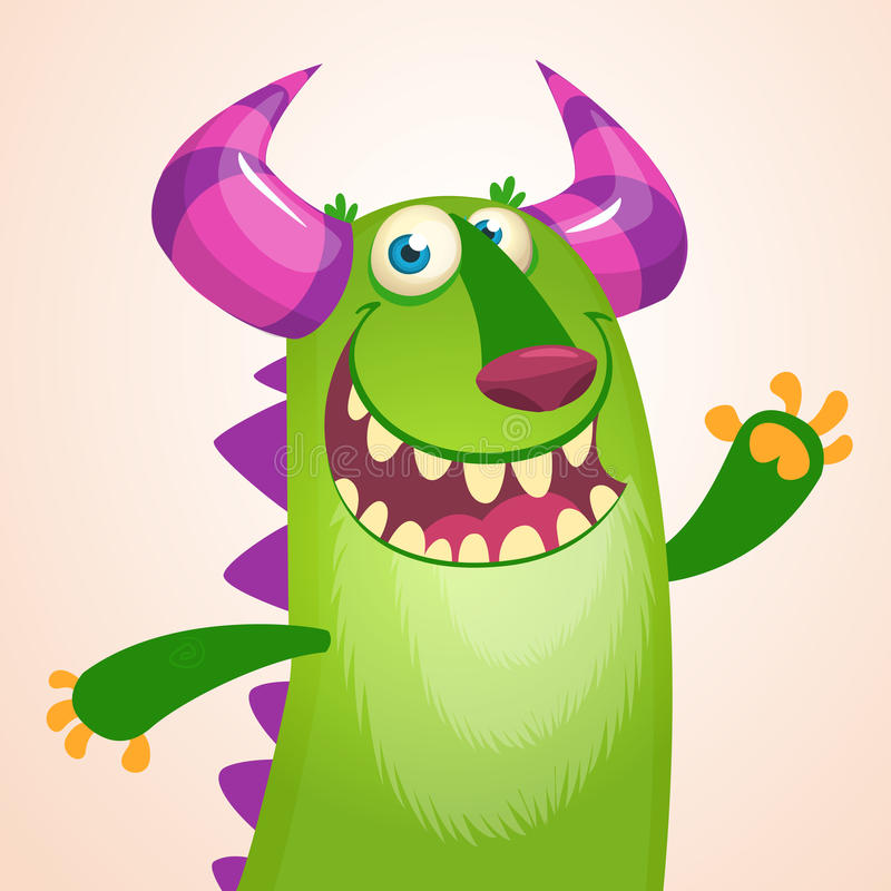 Ritratto del fumetto di risata del mostro verde