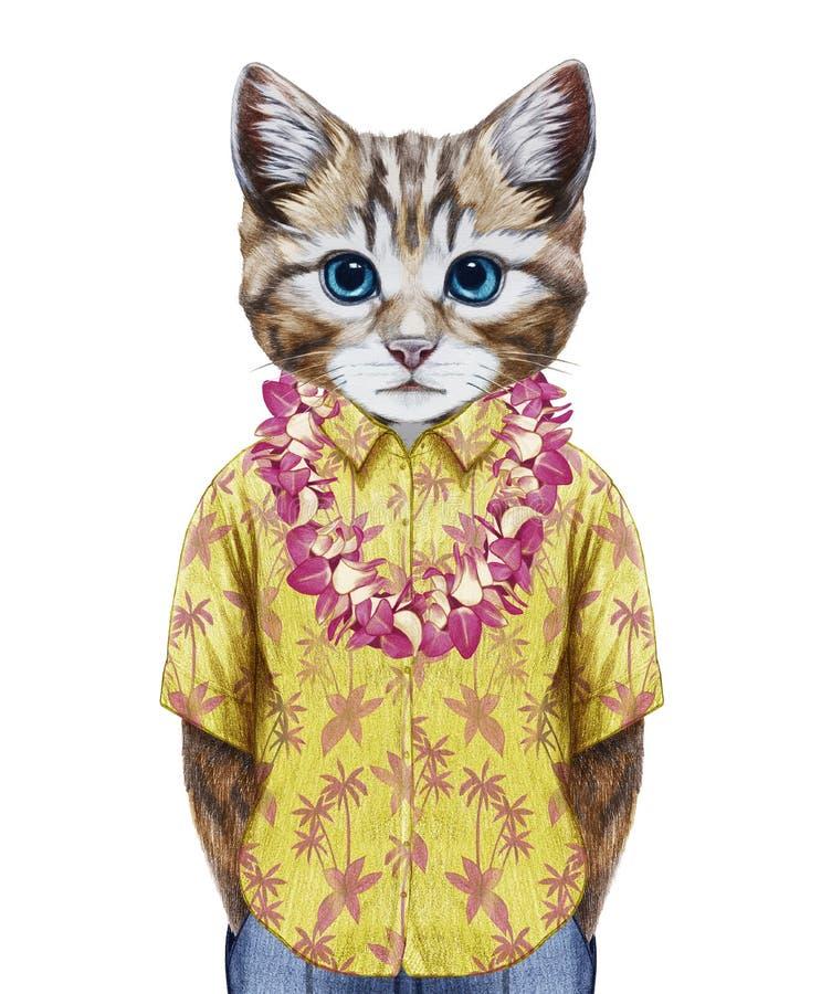 Ritratto del gatto in camicia di estate con hawaiano Lei royalty illustrazione gratis