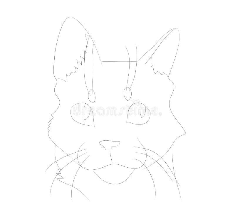 Ritratto del gatto dell'illustrazione di vettore, linee, vettore royalty illustrazione gratis