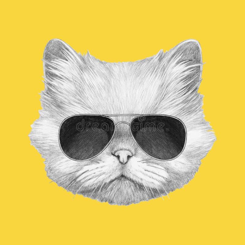 Ritratto del gatto persiano con gli occhiali da sole royalty illustrazione gratis