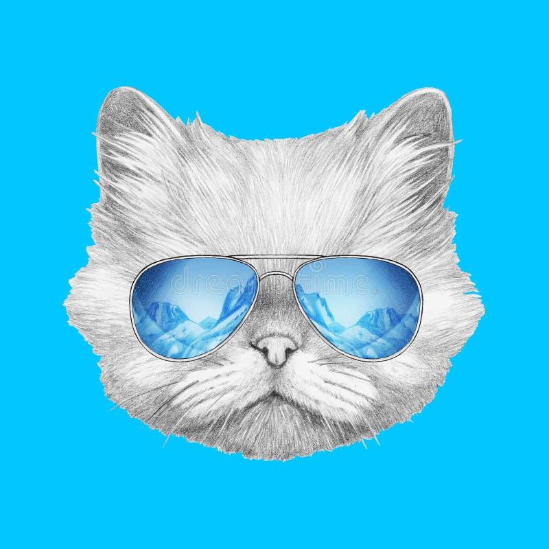 Ritratto del gatto persiano con gli occhiali da sole dello specchio royalty illustrazione gratis