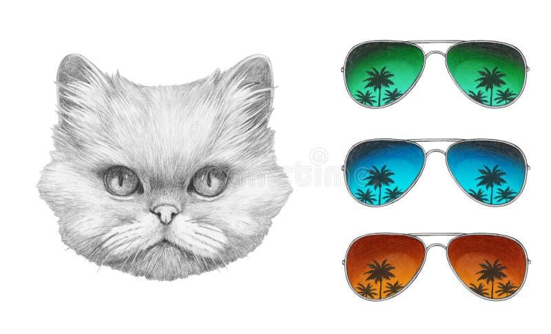 Ritratto del gatto persiano con gli occhiali da sole dello specchio illustrazione di stock