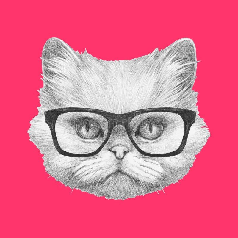 Ritratto del gatto persiano con i vetri illustrazione vettoriale