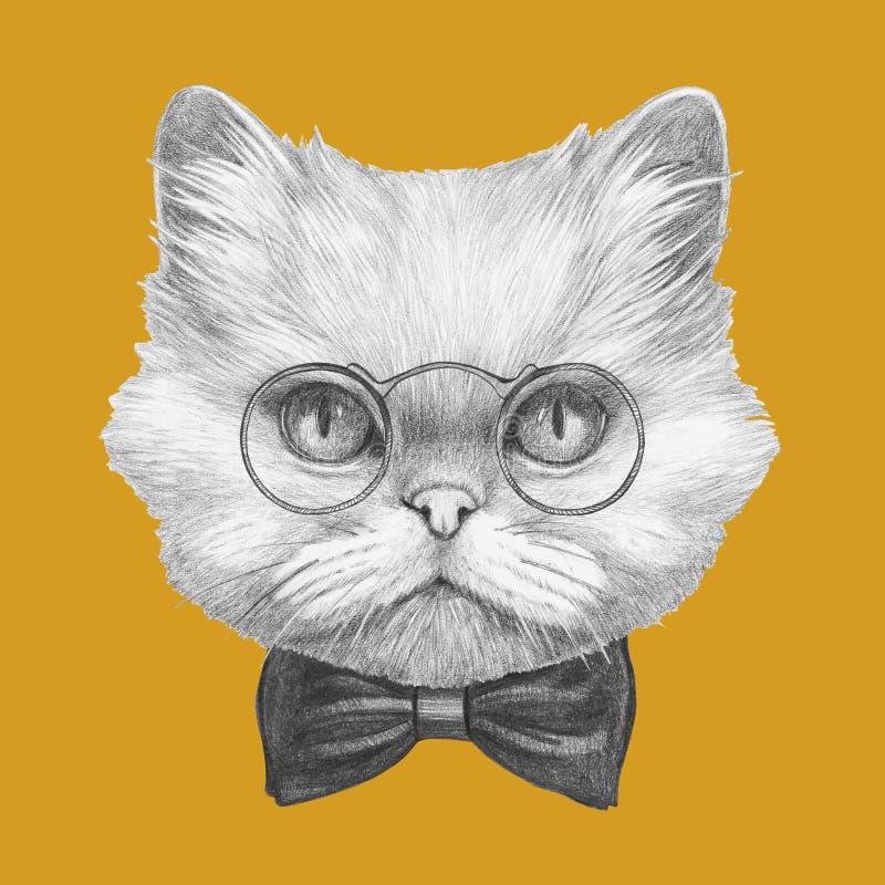 Ritratto del gatto persiano con i vetri ed il farfallino illustrazione di stock