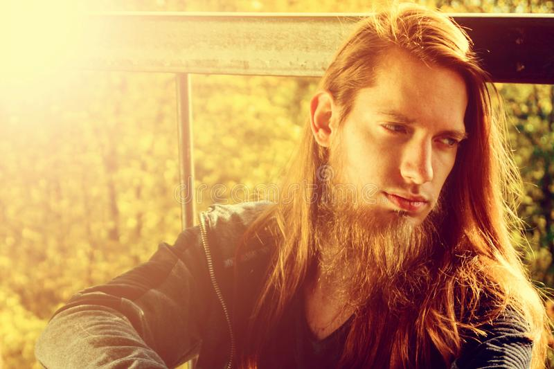Ritratto del giovane alla moda con la barba e con capelli lunghi che fotografia stock