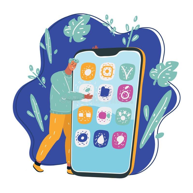 Ritratto del giovane bello con il telefono illustrazione di stock
