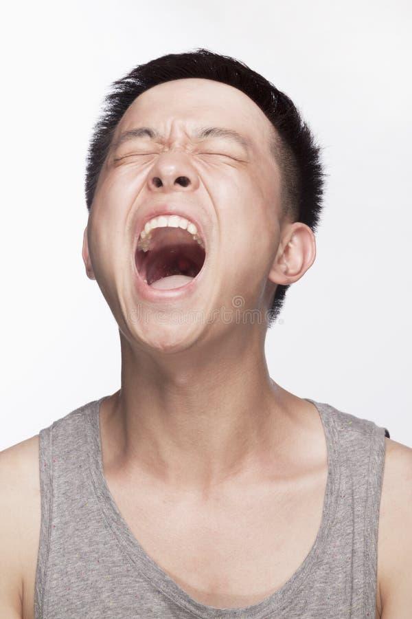 Ritratto del giovane che grida, bocca aperta, colpo dello studio immagini stock libere da diritti