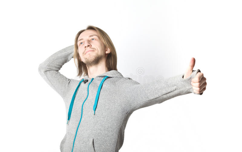 Ritratto del giovane con capelli biondi lunghi immagini stock libere da diritti