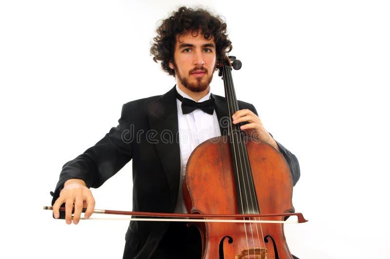 Ritratto del giovane con il violoncello fotografia stock libera da diritti