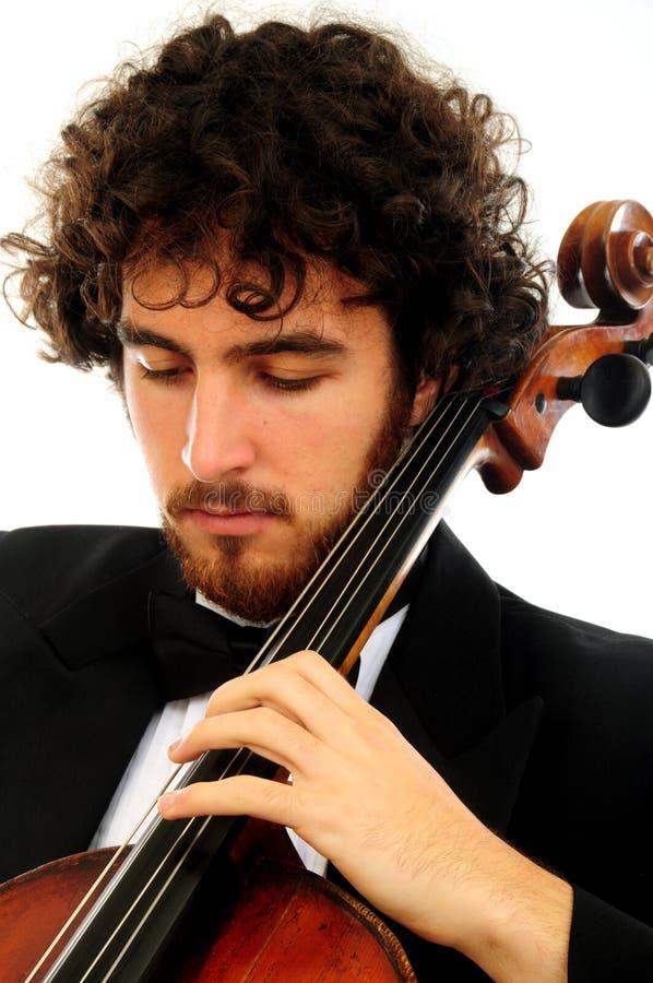 Ritratto del giovane con il violoncello immagine stock libera da diritti