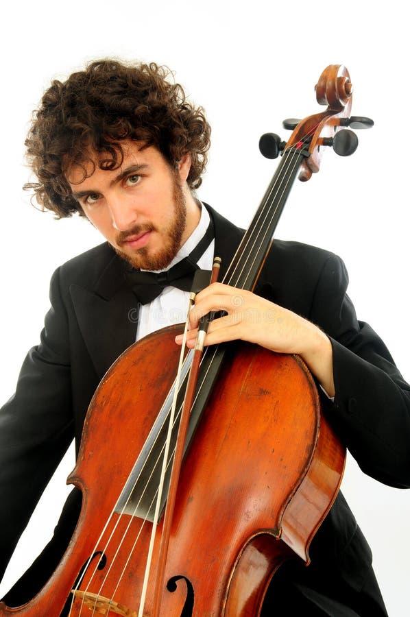Ritratto del giovane con il violoncello fotografia stock