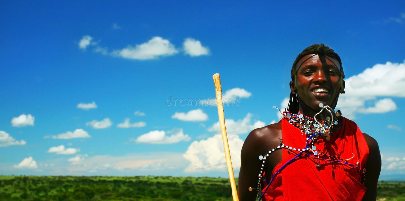 Ritratto del guerriero di Mara del Masai fotografia stock libera da diritti