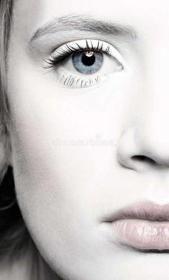 Ritratto del metà-fronte della bella ragazza immagini stock