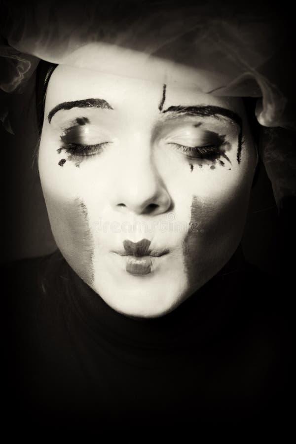 Ritratto del mime di sorpresa fotografia stock
