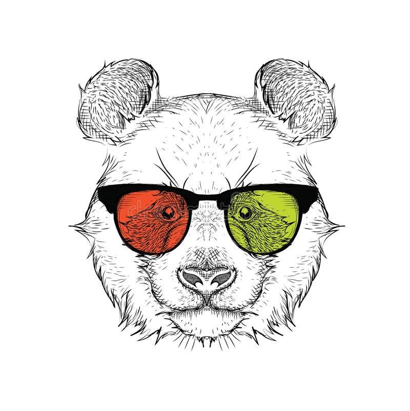 Ritratto del panda nei vetri colorati Pensi differente Illustrazione di vettore royalty illustrazione gratis