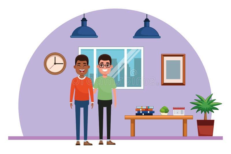 Ritratto del personaggio dei cartoni animati dell'avatar degli uomini illustrazione di stock