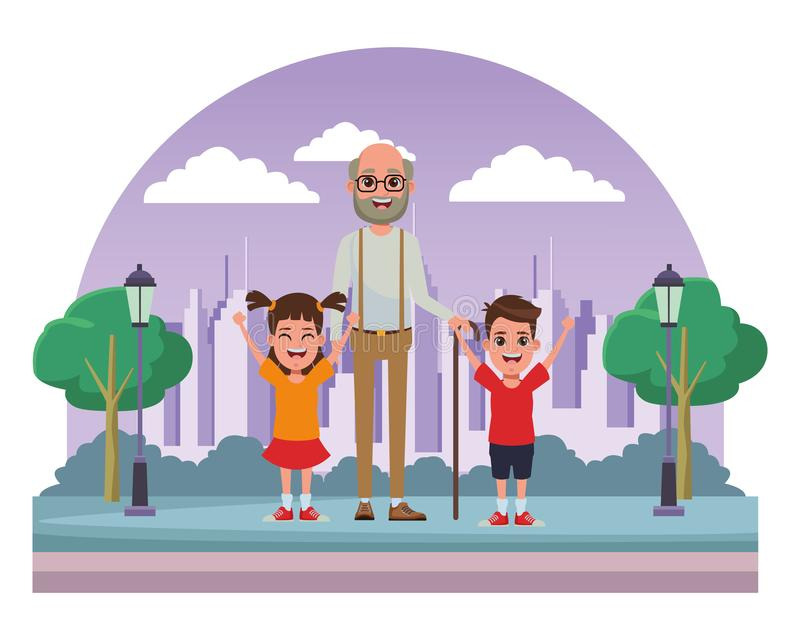 Ritratto del personaggio dei cartoni animati dell'avatar della famiglia illustrazione di stock