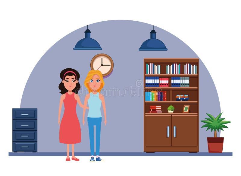 Ritratto del personaggio dei cartoni animati dell'avatar delle donne illustrazione vettoriale