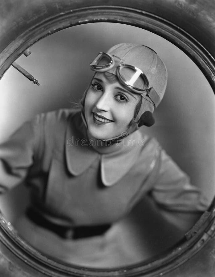 Ritratto del pilota femminile fotografia stock