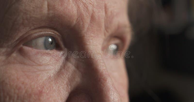 Ritratto del primo piano degli occhi della donna anziana fotografia stock