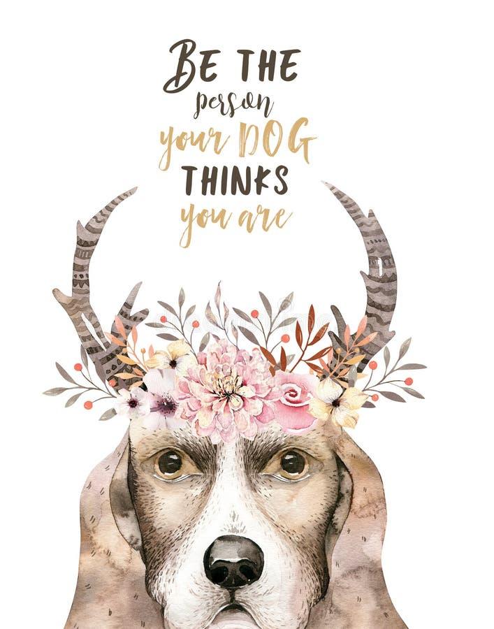 Ritratto del primo piano dell'acquerello del cane sveglio Isolato su priorità bassa bianca Animale domestico domestico dolce dise royalty illustrazione gratis
