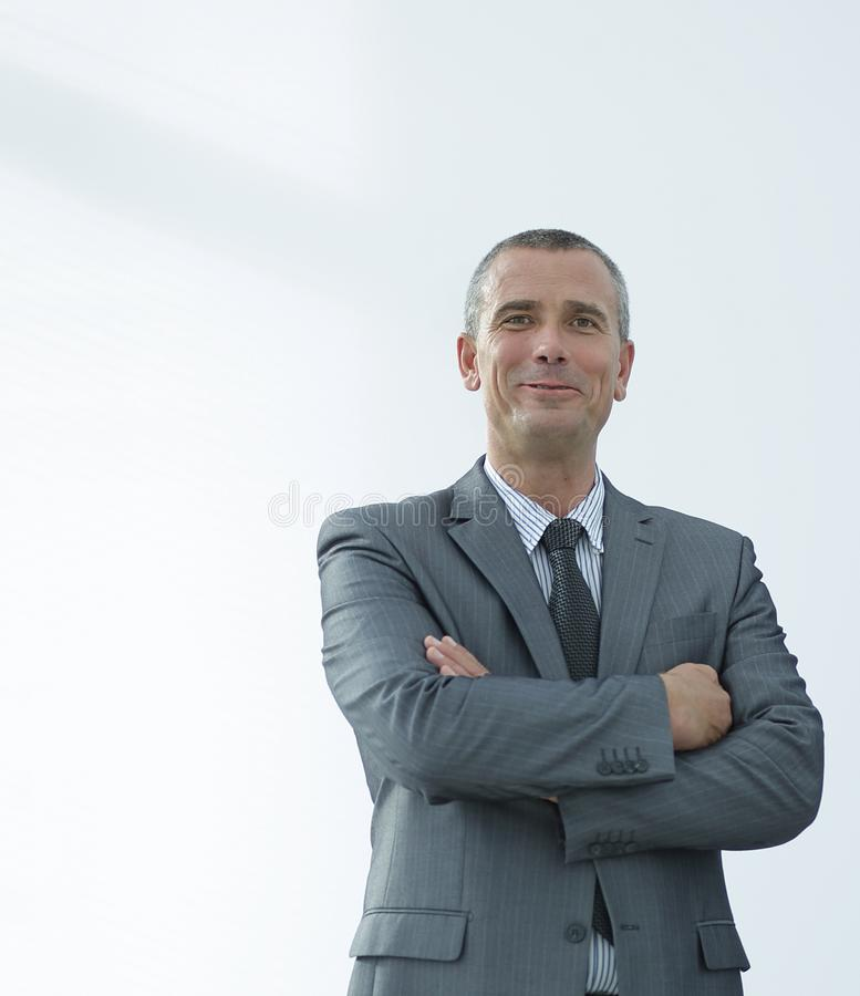 Ritratto del primo piano dell'uomo d'affari sicuro in camicia ed in legame fotografia stock