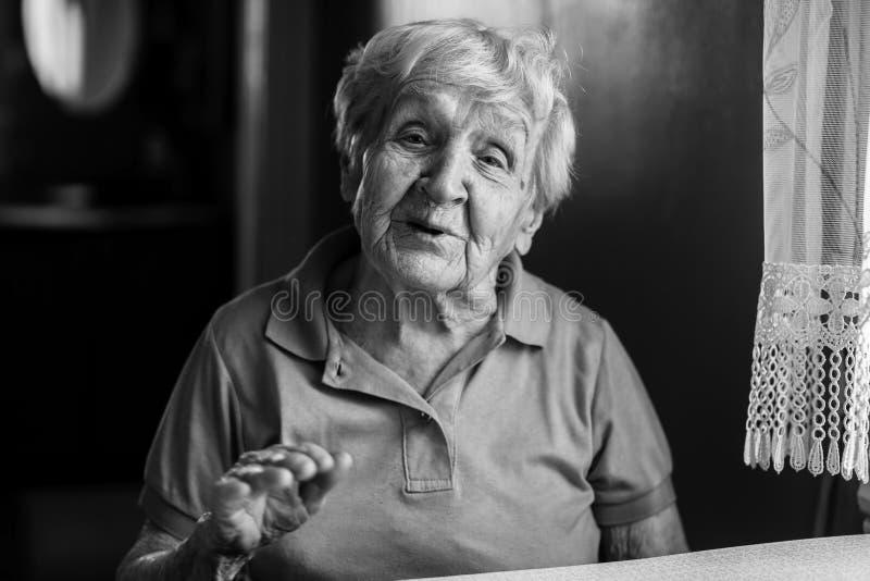 Ritratto del primo piano della donna anziana felice immagini stock libere da diritti