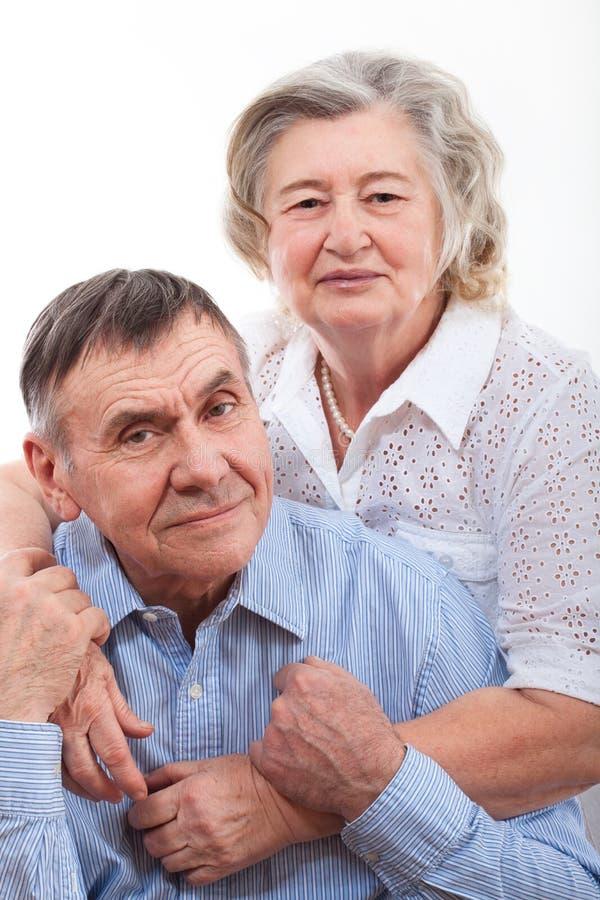 Ritratto del primo piano delle coppie anziane sorridenti immagine stock libera da diritti