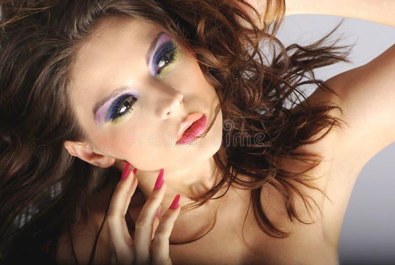 Ritratto del primo piano di bella donna con il professi immagine stock