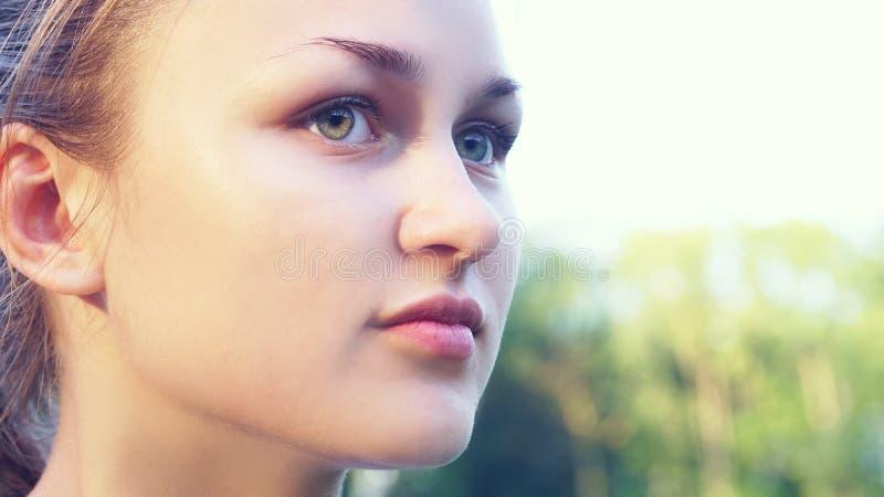 Ritratto del primo piano di bella giovane donna con le lentiggini fotografie stock