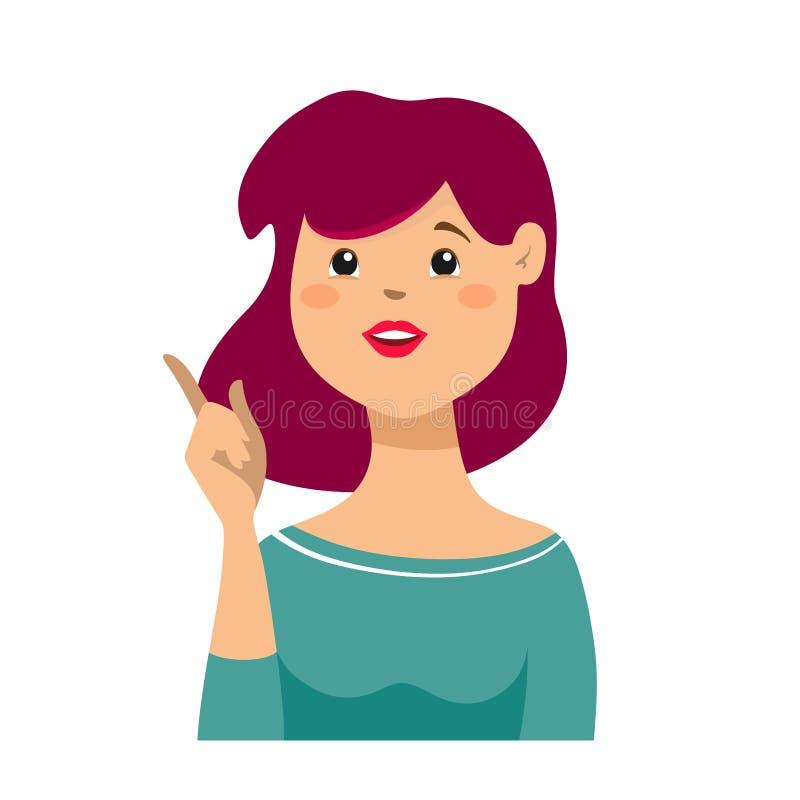 Ritratto del primo piano di bella giovane donna sorridente di affari, indicando con il dito indice verso l'alto o un segno, isola royalty illustrazione gratis