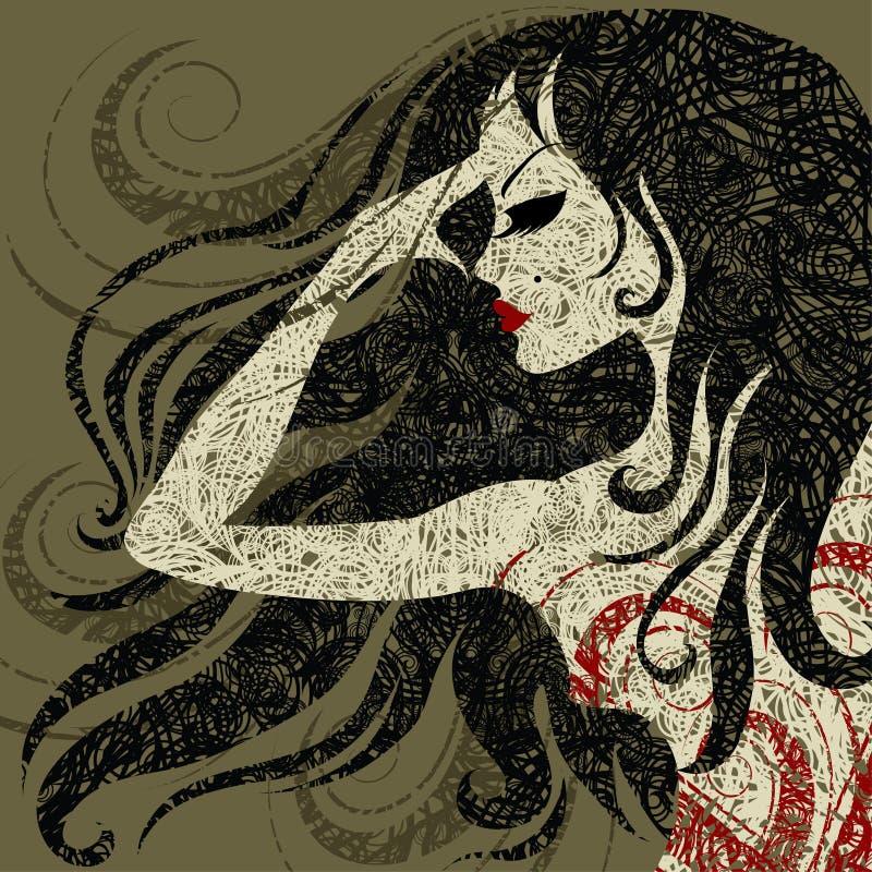 Ritratto del primo piano di Grunge - ragazza con bei capelli illustrazione di stock