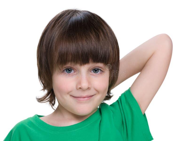 Ritratto del primo piano di un ragazzino fotografie stock