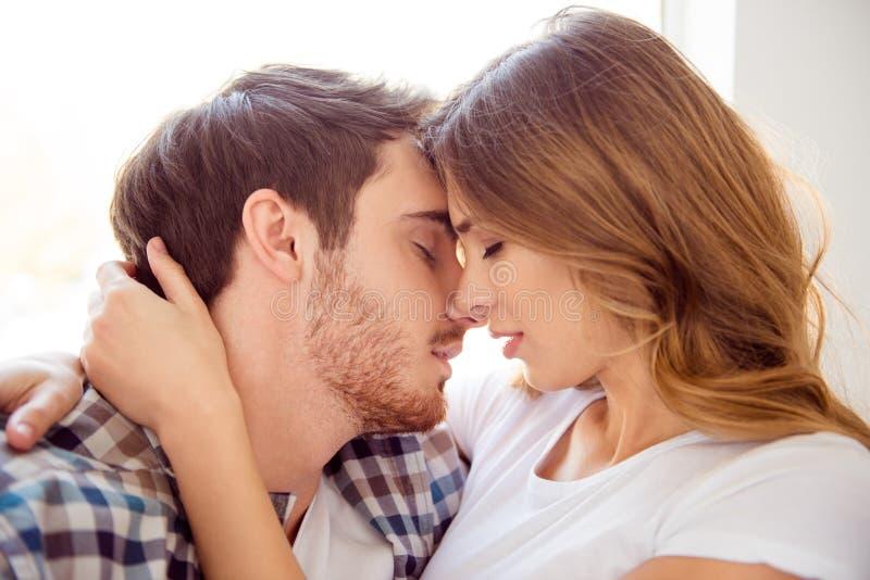 Ritratto del primo piano del suo lui lei lei vita baciante di signora del tipo barbuto affascinante attraente dolce caucasico att fotografia stock